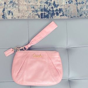 COACH Ultra Soft Leather Pink Emblem Wristlet with gold tone accents